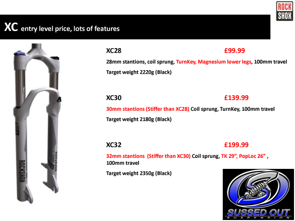 Rockshox 2013 XC28, XC30 & XC32 - The perfect budget, high quality XC fork!